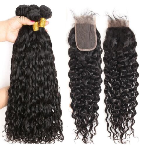 "Brazilian Virgin Hair Natural Wave 3 Bundles 20""22""24"" With 20"" Lace Closure"