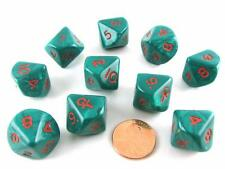 Chessex Dice d10 Ankh Green/Red Pearlized 10-Die Set 23mm CHX XM1545-S-10