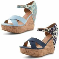 Womens Ladies Dolcis Floral Wedge Cork High Heel Platform Open Toe Sandals Size