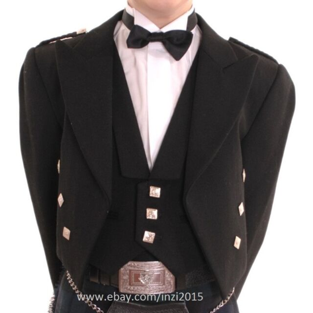 Prince Charlie Kilt Jacket With Waistcoat/Vest 100% Pure Wool - Out of Stock