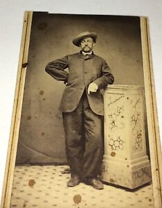 Antique-American-Civil-War-Era-Fashion-Gentleman-Super-Pose-Hat-CDV-Photo-US