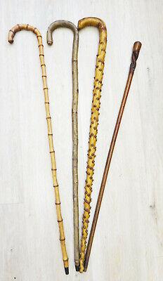 Walking cane stick VINTAGE WOOD crook carnival derby vtg hazel branch twisted