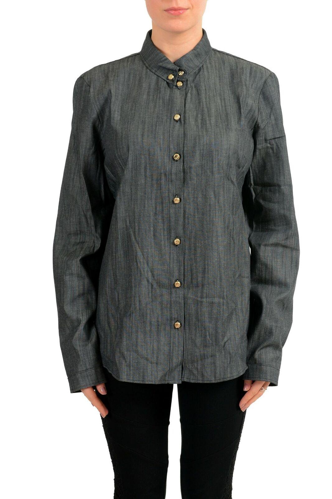 Versace Jeans Grau Knöpfe Denim Damen Shirt Größe L XL 2XL