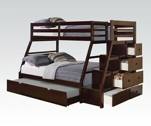 Acme Jason Espresso Bunk Bed W Storage Drawers Twin Top Full Bottom