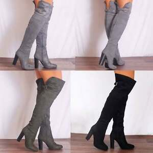 03a36fedad WOMENS BLACK GREY KHAKI OVER THE KNEE BUCKLE STRETCH BOOTS HIGH ...