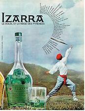 PUBLICITE ADVERTISING   1965   IZARRA    liqueur des Pyrénnées