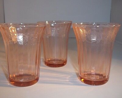 """Jeanette Pink Depression Glass Cherry Blossom 4-1/4"""" Juice Glasses Tumblers 3"""