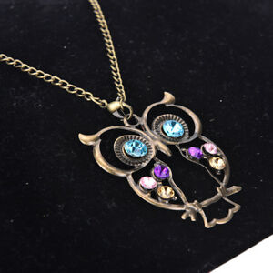New-Women-Vintage-Rhinestone-OWL-Pendant-Long-Chain-Necklace-Jewellery-Gift-KQ
