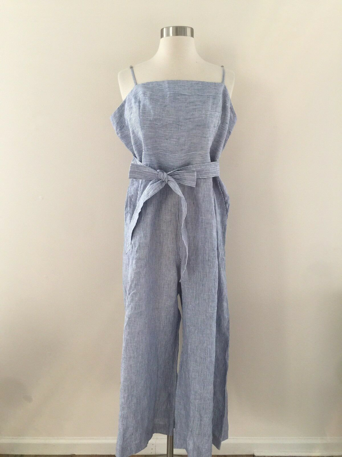 New JCREW Striped Linen Jumpsuit With Tie Size 14 bluee White Stripes G5964