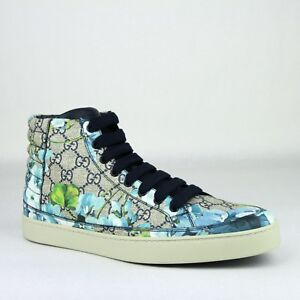 cfaf37b1c Gucci Supreme GG Canvas Blue Bloom Print Fabric Hi Top Sneaker Shoes ...