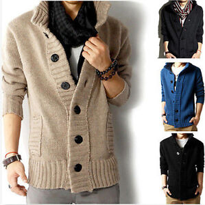 Mens-knit-Casual-Coat-Korean-Trench-Fit-Line-Jacket-Sweater-Parka-cardigan-NEW