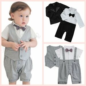 850dc231c Newborn Baby Boys Wedding Formal Tuxedo Suit Gentleman Bowtie Romper ...