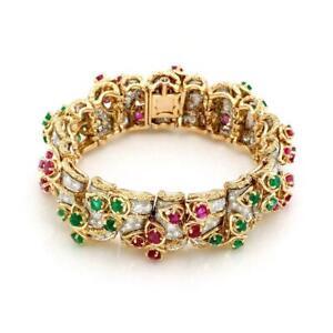 Estate-French-21-50ct-Diamond-Ruby-Emerald-18k-Gold-19-5mm-Floral-Link-Bracelet
