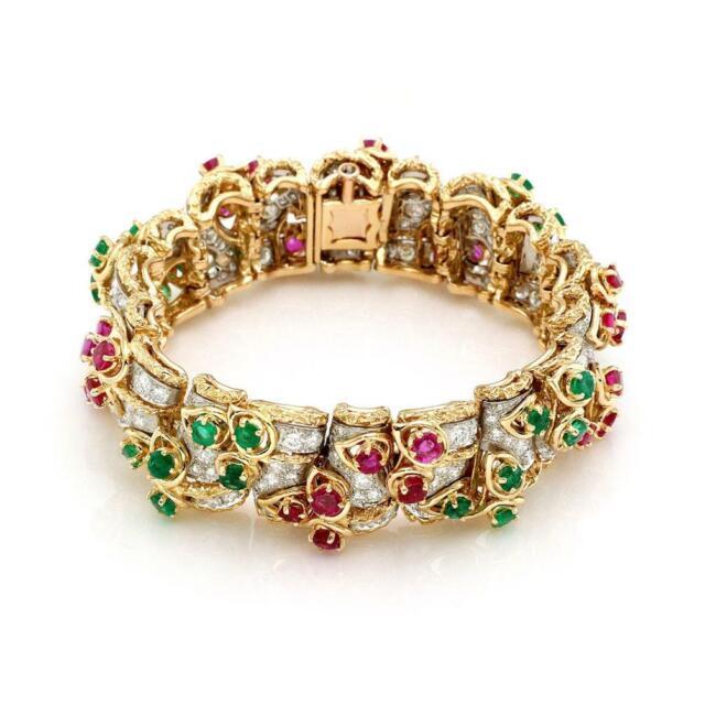 Estate French 21.50ct Diamond Ruby  Emerald 18k Gold 19.5mm Floral Link Bracelet