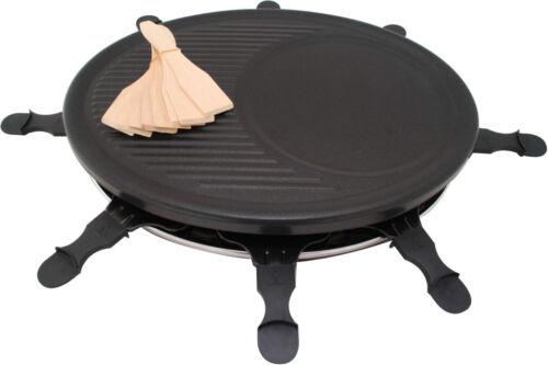 Raclette Party Barbeque Grill für 8 Personen 1200 Watt Fondue Tisch Naturstein