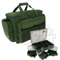 Green Insulated Carryall Holdall Bag With 6+1 Tackle Bit Box Set Carp Fishing