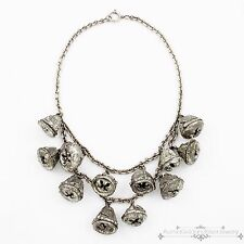 Antique Vintage Deco Sterling Silver Chinese Tibetan Repousse Acorn Necklace