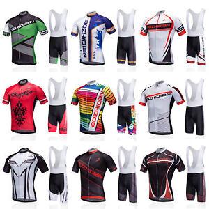 Men-039-s-Cycling-Bib-Kit-Bike-Bicycle-Jersey-Shirt-and-Padded-Bib-Shorts-Set-S-5XL