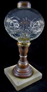 Antique-Flame-Bullseye-Composite-Kerosene-or-Oil-Stand-Lamp-Crystal-Clear-Glass