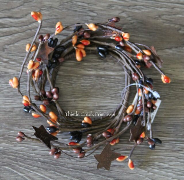 """Candle Ring 2/"""" Inside Diameter-Pip Berries /& Rusty Tin Stars-Primitive Mix"""