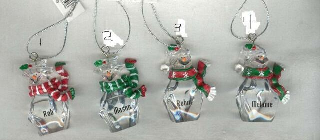 Christmas Ornament Snowman Personalized Name Ren-Step