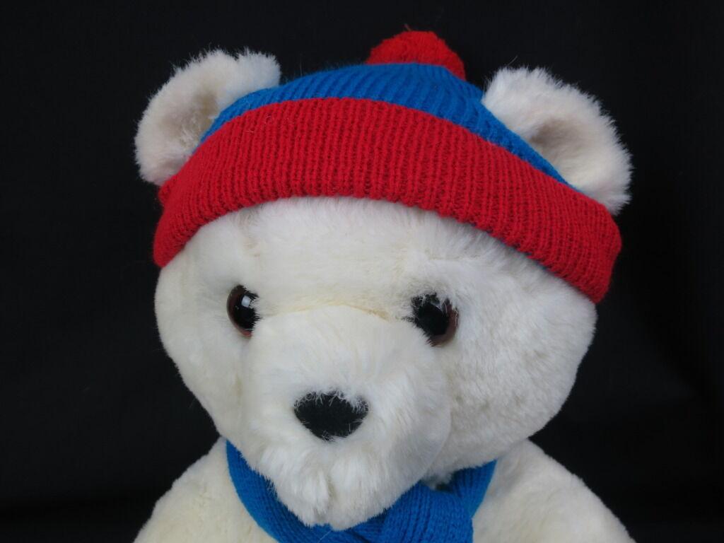 VINTAGE MADE IN KOREA WINTER TEDDY BEAR blueE RED SCARF CHRISTMAS BIG PLUSH