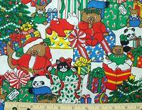 Vitg Wamsutta Otc Santa Bears Cat Bunny Panda Christmas Print Cotton Fabric