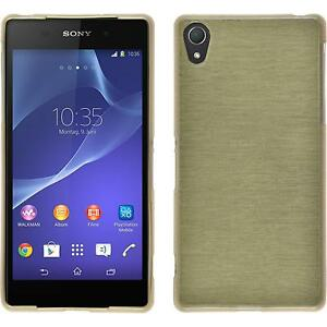 Coque-en-Silicone-Sony-Xperia-Z2-brushed-or-films-de-protection