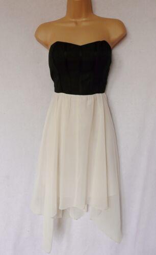 BNWT new LIPSY Black ecru corset chiffon dip hem dress occasion prom party dress