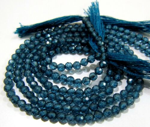 Natural London Blue Topaz Beads Rondelle faceted 3mm Strand 13 inch Best Quality