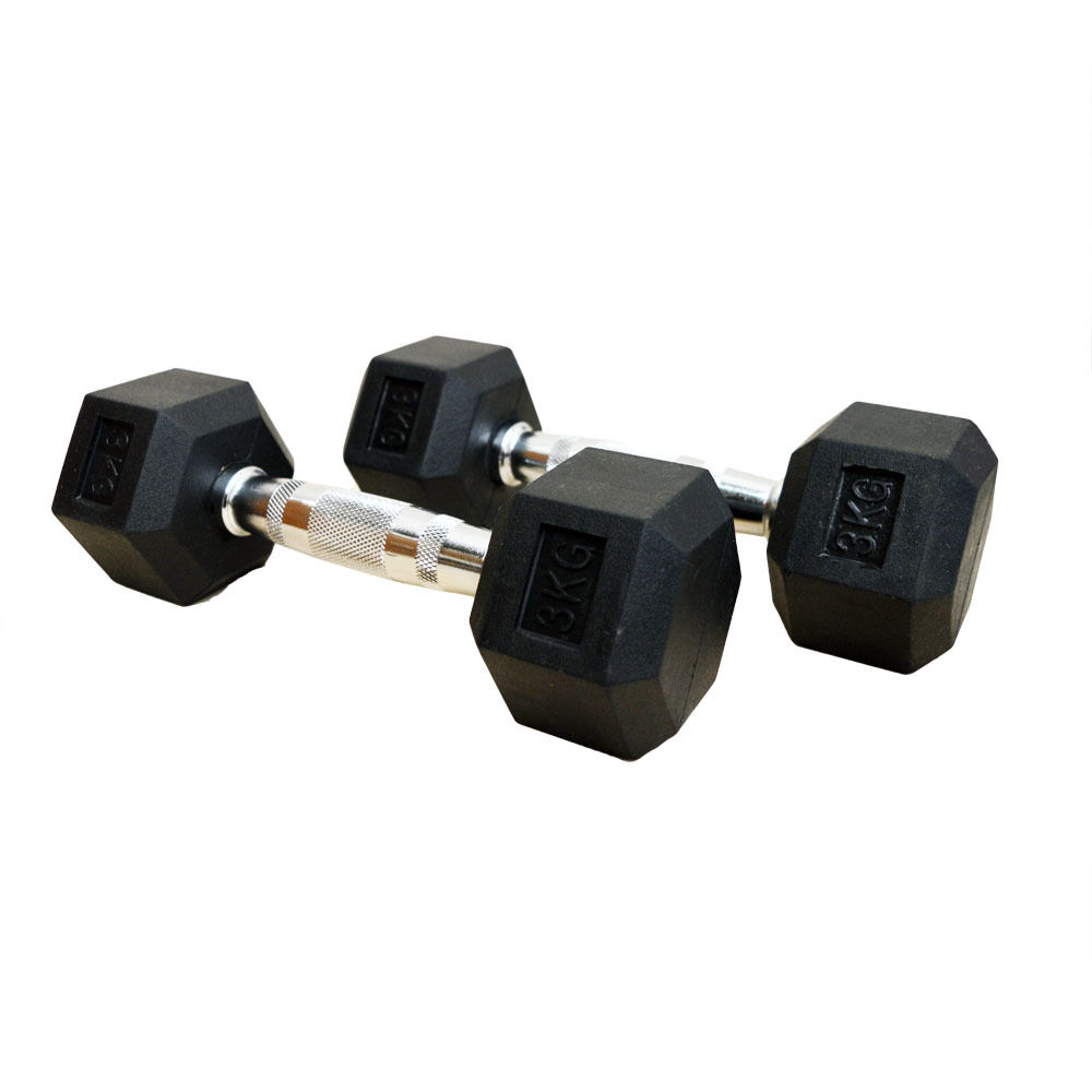 Hex Dumbbells Rubber Encased Dumbbell Weights Set Gym Weights Dumbbell Singles/Pairs 1-30kg 57ce46
