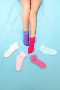 LADIES SNUGGLE TOES THERMAL BED SOCKS PINK // BLUE /& LILAC 6 PAIRS OF WOMENS