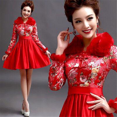 Evening Prom Dress Wedding Bridesmaid Dress Short Cheongsam Skirt Winter Y215H
