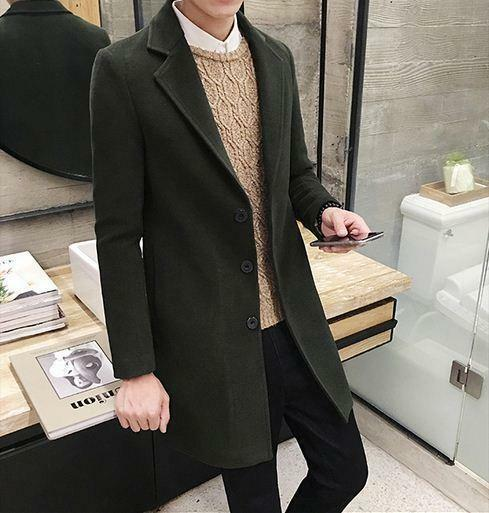 Mens Fashion formal long trench wool blend slim fit lapel out coat