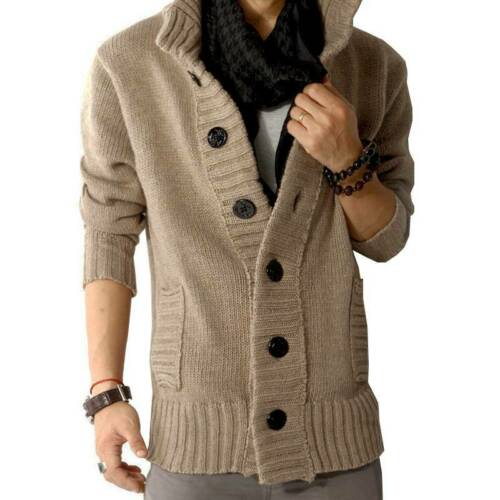 Homme Pull Cardigan Sweater Casual Long manteau chaud Pulls outwear Tops