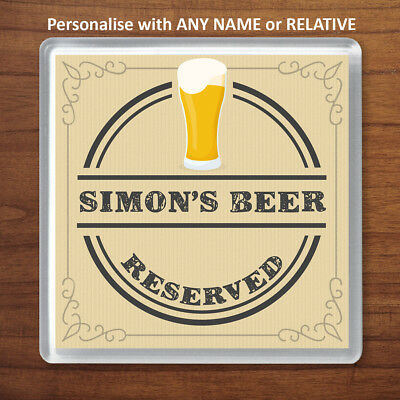 Personalised Reserved for Name Beer Wooden Coaster Mat Gift Present