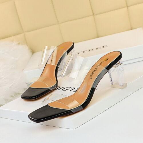 Women Slippers Open Toe Clear PVC Strap Block High Heel Mules Sandals Party Shoe