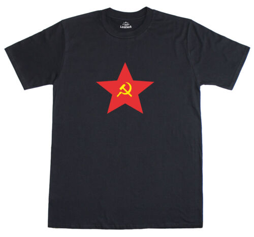 Russian Hammer And Sickle CCCP Red Star Soviet Mens Loose Fit Cotton T-Shirt