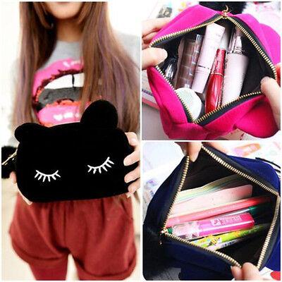Cute Flannel Cosmetic Makeup Cartoon Cat Storage Bags Pen Pencil Pouch Cases B20