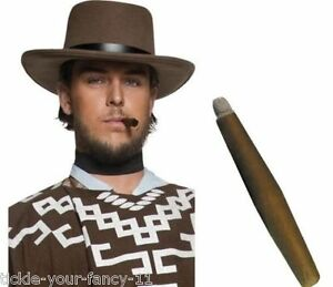 Utile Men's Brown Cow-boy Bandit Chapeau & Jumbo Cigare Western Clint Eastwood Fancy Dress-afficher Le Titre D'origine Des Biens De Chaque Description Sont Disponibles