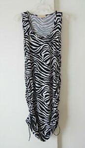 womens black white MICHAEL KORS dress zebra ruched hem sleeveless club L LARGE