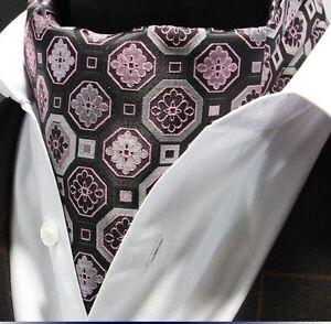 Cravat Ascot Rose Noir & Argent Cravate Avec Mouchoir Correspondant.-afficher Le Titre D'origine
