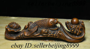 Collect Antique Chinese Boxwood Wood Carving Lotus Flower Fish Ball Ru yi Statue