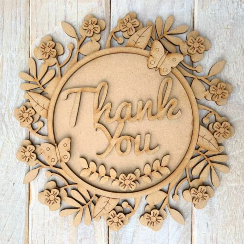 3mm Laser Cut MDF Craft Blank Sign Layered  Thank You Teacher 20cm fits ribba