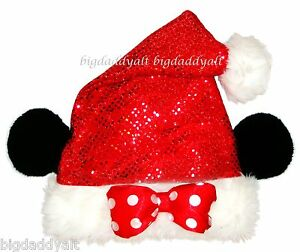 975d5030adc55 NEW Disney Parks Minnie Mouse Red Sequin Santa Christmas Costume Hat ...