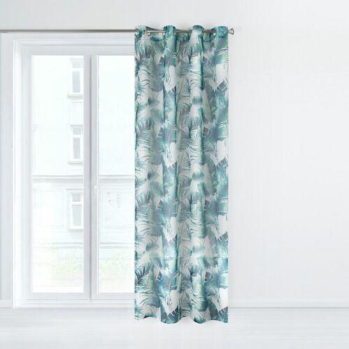 SET 2 Vorhänge Gardinen Ösenvorhang Blätter Gardinen mit Muster Blau Grün Weiß