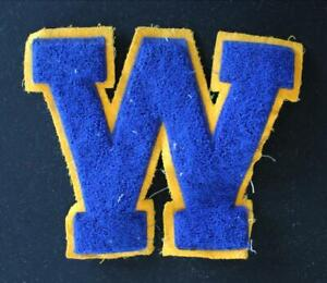 """VINTAGE 1960'S-1970'S SCHOOL NAVY AND GOLD PATCH 9"""" X 7 1/2"""""""