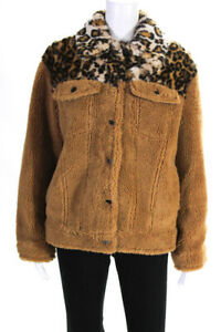 Jocelyn-Womens-Camel-Faux-Fur-Teddy-Jacket-Brown-Size-Small