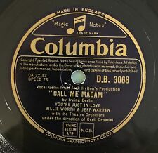 "RARE 78RPM 10"" COLUMBIA BILLIE WORTH & JEFF WARREN YOU'RE JUST IN LOVE CALL ME M"