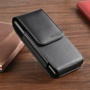 Black-Vertical-Leather-Pouch-Case-Cover-Belt-Loop-Holder-for-Large-Cell-Phones